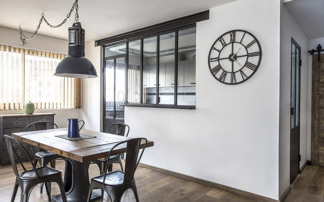 Verrière cuisine avec fenêtre double ouvrants